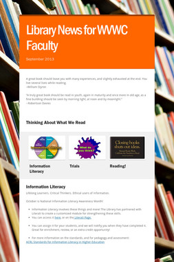 Library News for WVWC Faculty