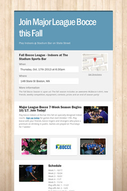 Join Major League Bocce this Fall