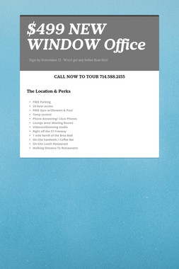 $499 NEW WINDOW Office