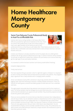 Home Healthcare Montgomery County