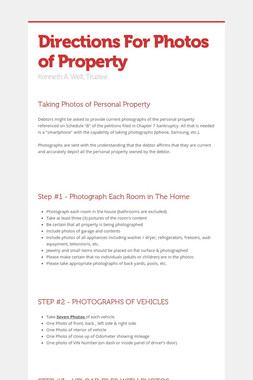 Directions For Photos of Property