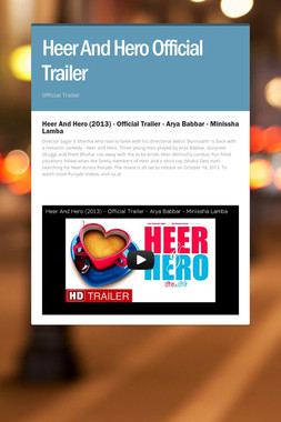 Heer And Hero Official Trailer