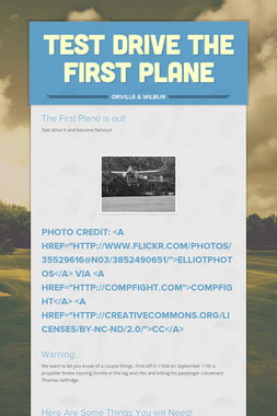 Test Drive The First Plane