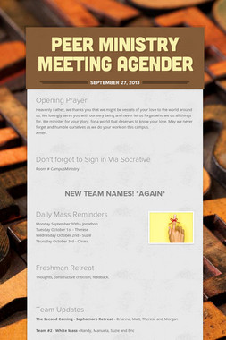 Peer Ministry Meeting Agender
