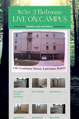 $630 2 Bedrooms LIVE ON CAMPUS