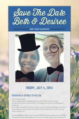 Save The Date Beth & Desiree