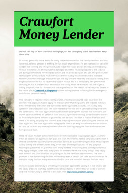 Crawfort Money Lender