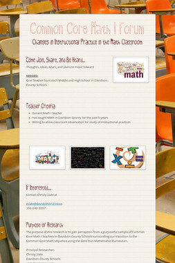 Common Core Math I Forum