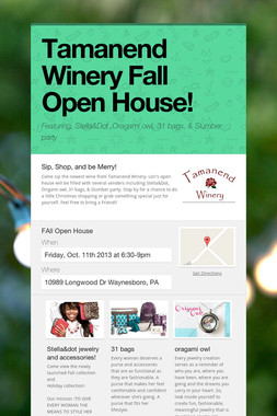 Tamanend Winery Fall Open House!