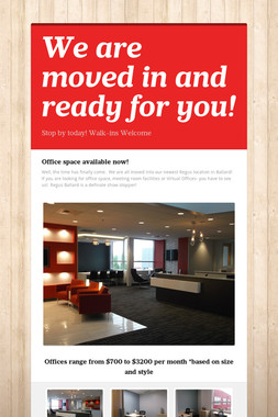 We are moved in and ready for you!