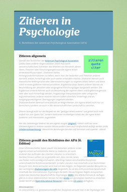 Zitieren in Psychologie