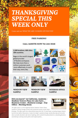 THANKSGIVING SPECIAL THIS WEEK ONLY