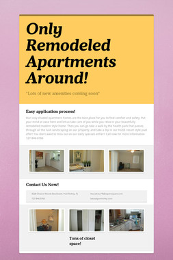 Only Remodeled Apartments Around!