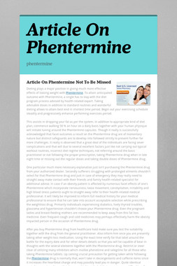 Article On Phentermine