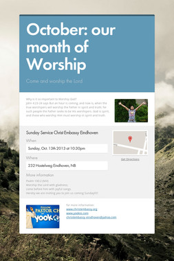 October: our month of Worship