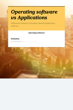 Operating software vs Applications