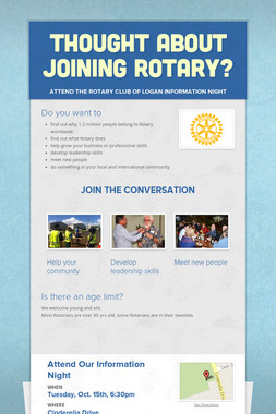 Thought about joining Rotary?