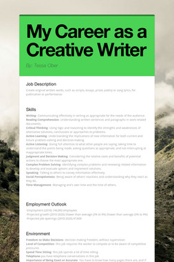 My Career as a Creative Writer