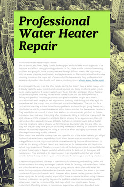 Professional Water Heater Repair