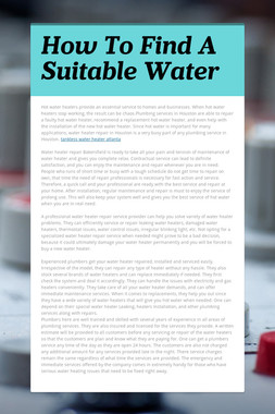 How To Find A Suitable Water