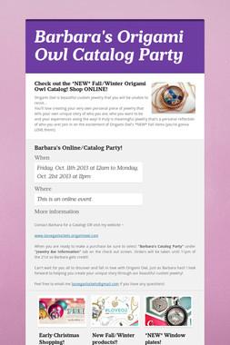Barbara's Origami Owl Catalog Party