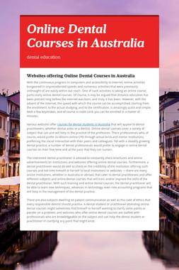 Online Dental Courses in Australia