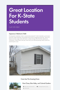 Great Location For K-State Students