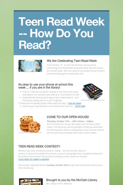 Teen Read Week -- How Do You Read?