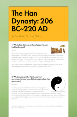 The Han Dynasty: 206 BC~220 AD
