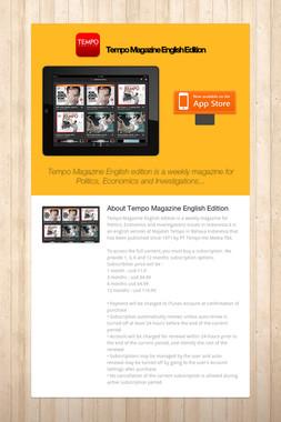 Tempo Magazine English Edition
