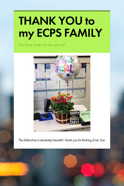 THANK YOU to my ECPS FAMILY