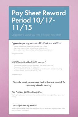 Pay Sheet Reward Period 10/17-11/15