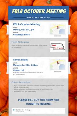 FBLA October Meeting