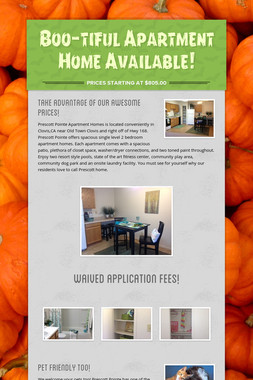 Boo-tiful Apartment Home Available!