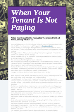 When Your Tenant Is Not Paying