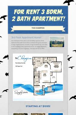 For Rent 3 Bdrm, 2 Bath Apartment!