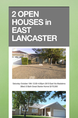 2 OPEN HOUSES in EAST LANCASTER