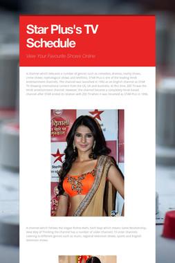 Star Plus's TV Schedule