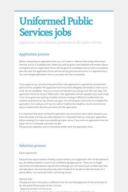 Uniformed Public Services jobs