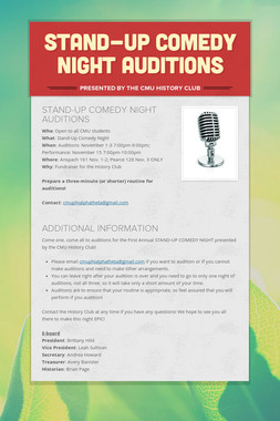 STAND-UP COMEDY NIGHT AUDITIONS