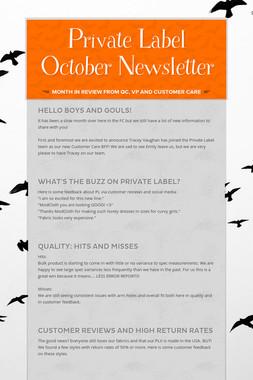 Private Label October Newsletter