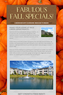 FABULOUS FALL SPECIALS!