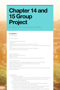 Chapter 14 and 15 Group Project