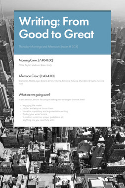 Writing: From Good to Great