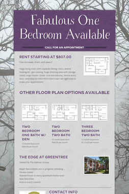 Fabulous One Bedroom Available