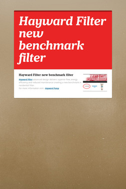 Hayward Filter new benchmark filter