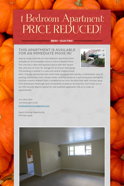 1 Bedroom Apartment: PRICE REDUCED!