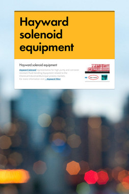 Hayward solenoid equipment