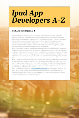 Ipad App Developers A-Z
