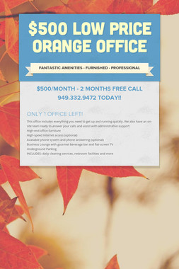 $500 LOW PRICE ORANGE OFFICE